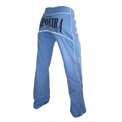 Calças Capoeira - azul de luz e borda branca