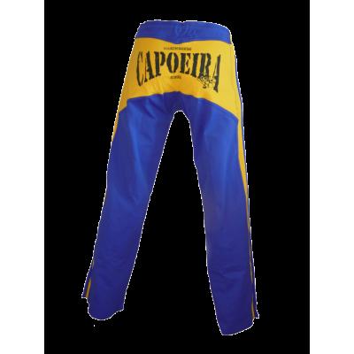 Abada Capoeira Hose - Blaue und gestreifte Gelb König Dibum