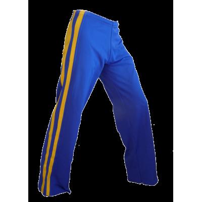 Calças azul e amarelo listrado Rei Dibum