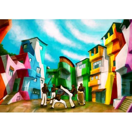 Dessin sous verre : FAVELA RIO
