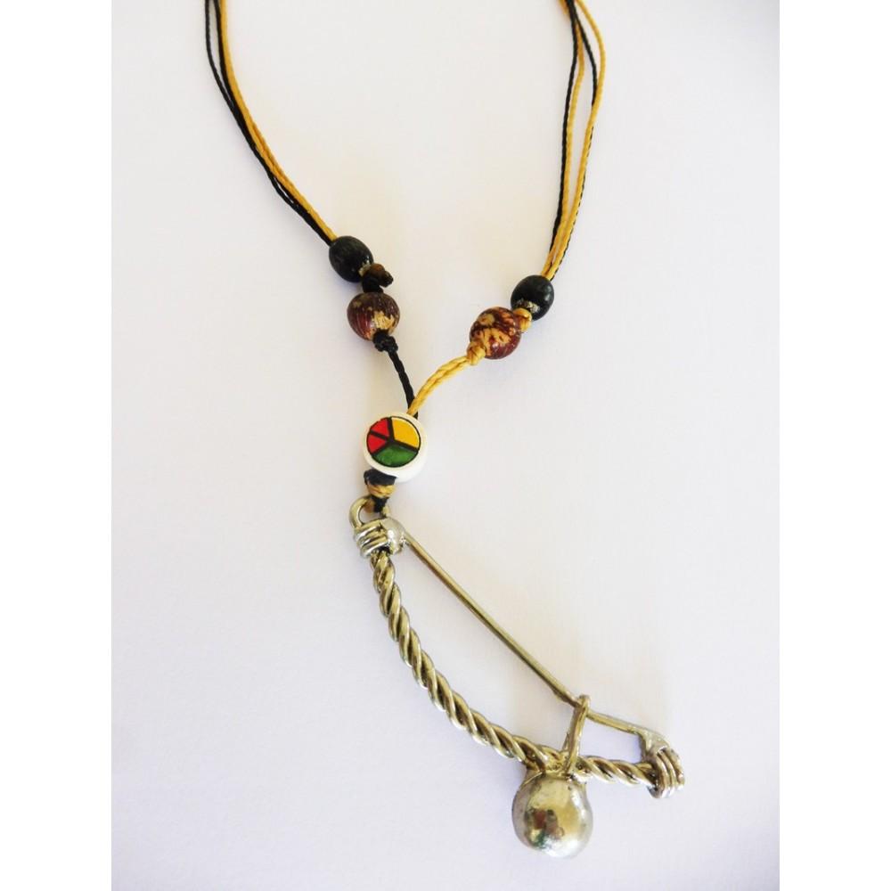Halskette Anhänger Berimbau Braun