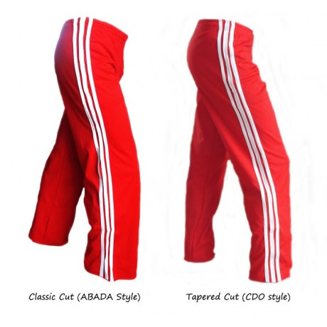 Red Capoeira pants white striped