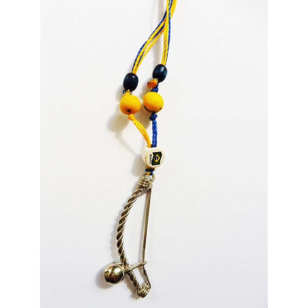 Berimbau Halskette - Blau Gelb